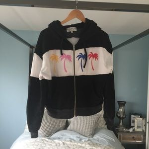 EUC Tropical Wildfox Color Palm Trees Zip HoodieXS